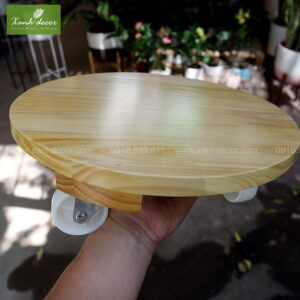Giá gỗ có bánh xe để cây, đĩa gỗ đẩy, đĩa gỗ để cây, đĩa đẩy